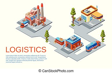 Vector isometric logistics transportation concept