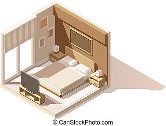Vector isometric low poly bedroom icon