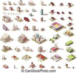 Vector isometric low poly buildings and houses - Different ...