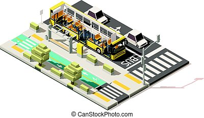 Vector isometric low poly bus on the bus lane