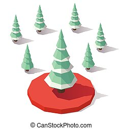 Christmas tree in the snow - Vector isometric low poly...