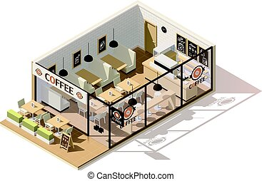 Vector isometric low poly coffee shop