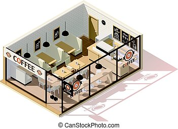 Vector isometric low poly coffee shop interior
