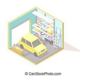 Vector isometric low poly cutaway interior illustartion. Garage