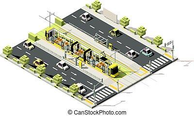 Vector isometric low poly dedicated tram lane