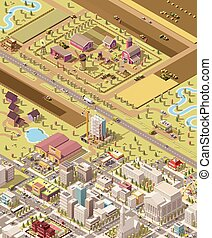 Vector isometric low poly farm and city. Illustration of the...