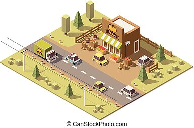 Vector isometric low poly farmers food store