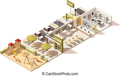 Vector isometric low poly fast food restaurant...