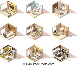 Vector isometric low poly home rooms set. Includes living...