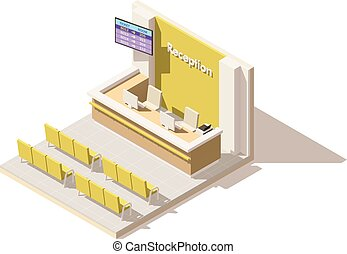 Vector isometric low poly hospital reception