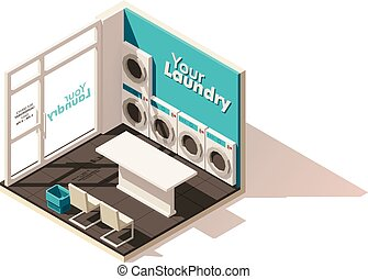 Vector isometric low poly laundromat icon