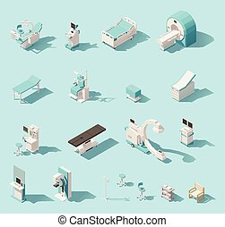 Vector isometric low poly medical equipment set. Includes...