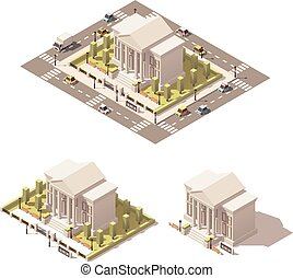 Vector isometric low poly museum building icon