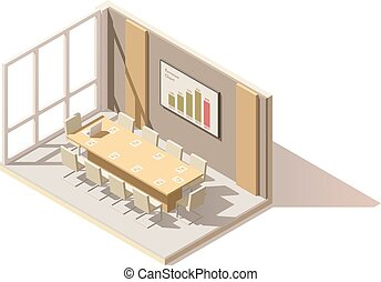 Vector isometric low poly office conference room. Includes...