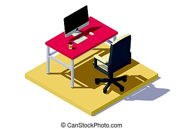 isometric low poly Office Workplace
