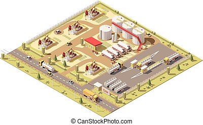 Vector isometric low poly oil field. illustration includes ...