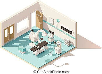 Vector isometric low poly operating room