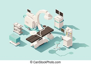 Vector isometric low poly hospital operating room. Includes operating table, x-ray scanner, anesthesia machine and other equipment