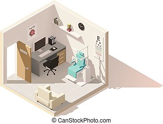 Vector isometric low poly ophthalmologist office cutaway...
