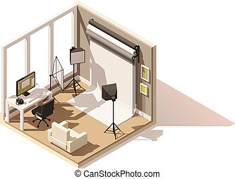 Vector isometric low poly Photo studio room icon
