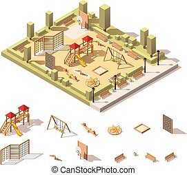 Vector isometric low poly playground icon - Vector isometric...