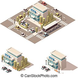 Vector isometric low poly police building icon