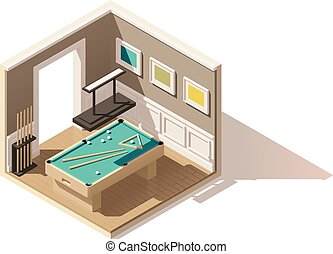 Vector isometric low poly pool room