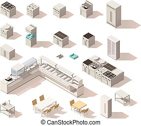 Vector isometric low poly restaurant equipment. Includes table, chairs, stove, salad bar, deep fryer, dish washer, grill, fridge and other commercial kitchen equipment