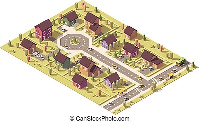 Vector isometric low poly suburb - Isometric map of the...