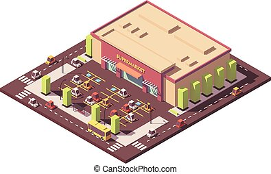 Vector isometric low poly supermarket or grocery store...