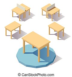 Vector isometric low poly Table
