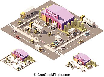 Vector isometric low poly warehouse building icon - Vector...