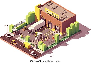 Vector isometric low poly warehouse building. Includes ...