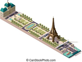 Vector isometric map of the Champ de Mars in Paris
