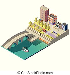 Vector isometric map of town with buildings