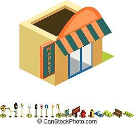 Vector isometric market building icon
