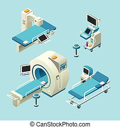 Vector isometric medical diagnostic equipment set