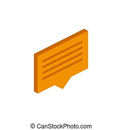 Vector isometric message icon on a white background