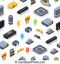 Vector isometric colored microchips and electronic parts icons seamless pattern or background illustration