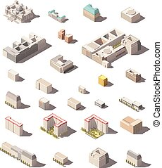 Set of the minimalistic old and modern city buildings