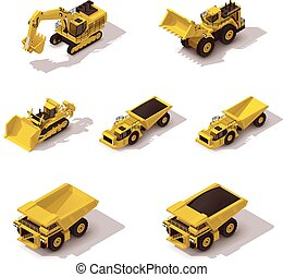 Vector isometric mining machinery set - Set of the isometric...