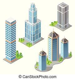 Vector isometric modern buildings, cartoon skyscrapers