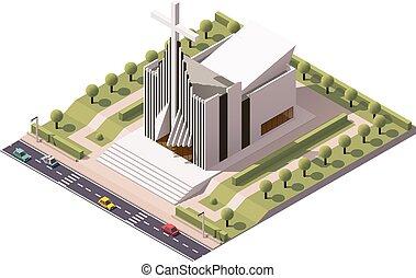 Vector isometric modern church building icon