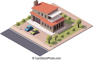 Vector isometric modern house - Isometric icon representing...