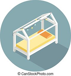 Vector isometric modern kids bed, 3d flat home furniture