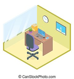Vector isometric modern office room.