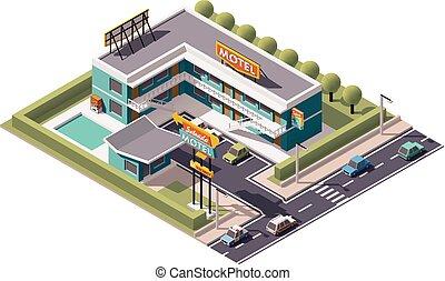 Vector isometric motel building icon