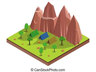 Vector isometric of camp in the forest.