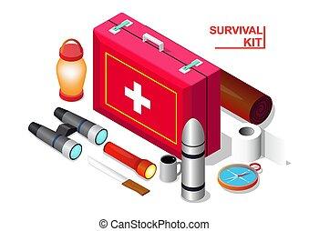 Vector isometric of Survival emergency kit set,