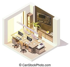 Vector isometric office room interior. Wooden desk with ...